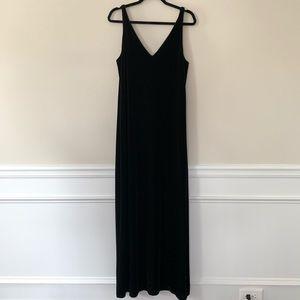 Ralph Lauren black velvet velour deep V Maxi dress